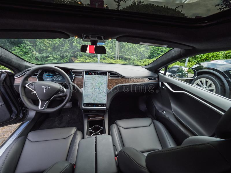 Urmond, NETHERLANDS - MAY 31, 2018: Leather luxury Interior of electric car TESLA Model S 100D.. Interior of TESLA Model S. Tesla. URMOND, NETHERLANDS - MAY 31 royalty free stock photography