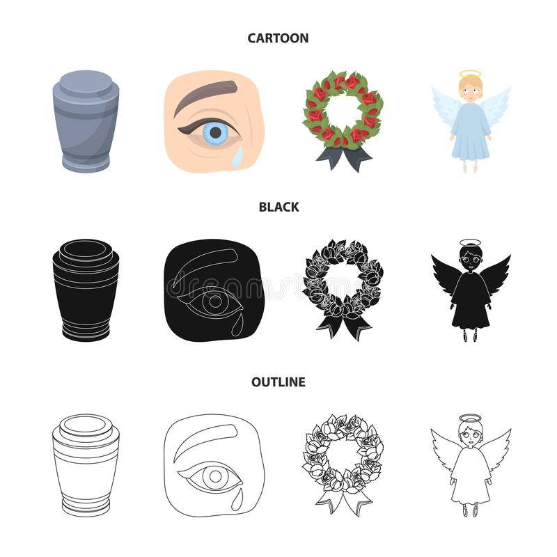 The urn with the ashes of the deceased, the tears of sorrow for the deceased at the funeral, the mourning wreath, the stock illustration