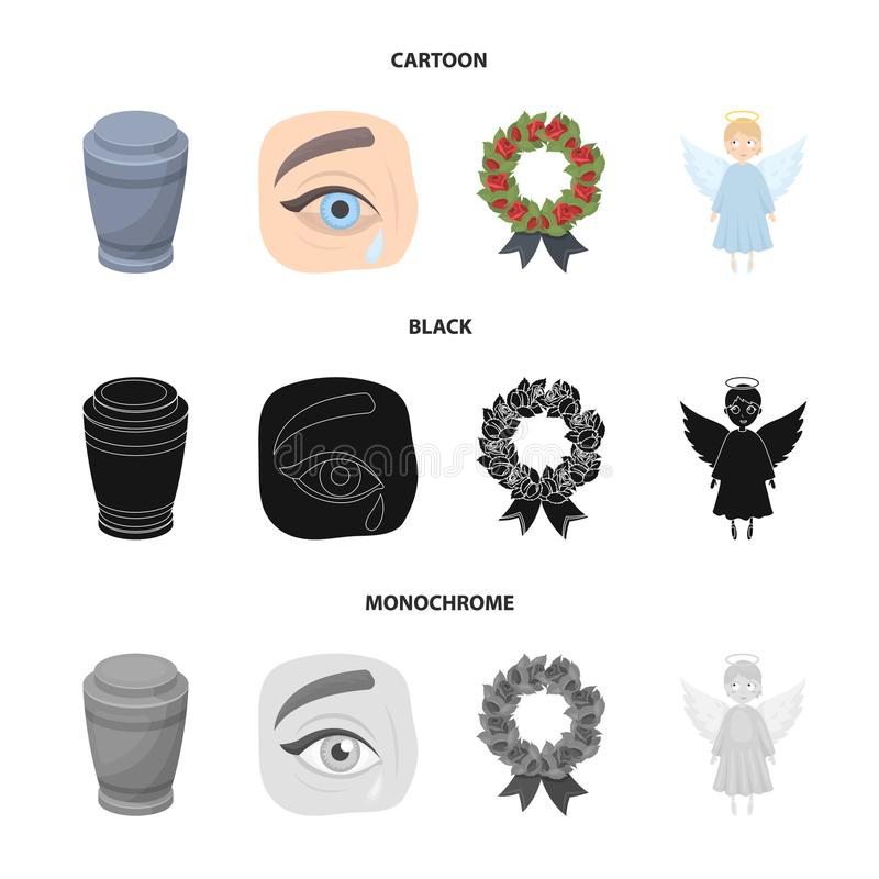 The urn with the ashes of the deceased, the tears of sorrow for the deceased at the funeral, the mourning wreath, the vector illustration