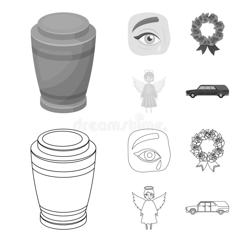 The urn with the ashes of the deceased, the tears of sorrow for the deceased at the funeral, the mourning wreath, the royalty free illustration
