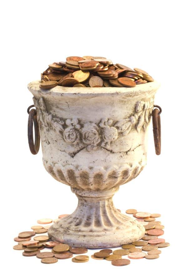 Urn e moedas imagens de stock royalty free