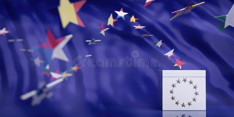 Urna blanca en fondo del extracto de la bandera de unión europea ilustración 3D imagenes de archivo
