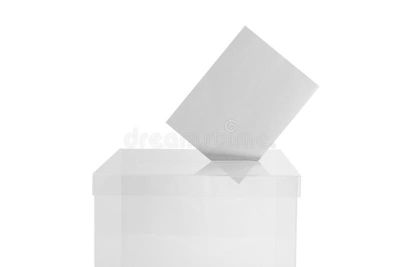 Urna con il voto su bianco Tempo di elezione immagini stock