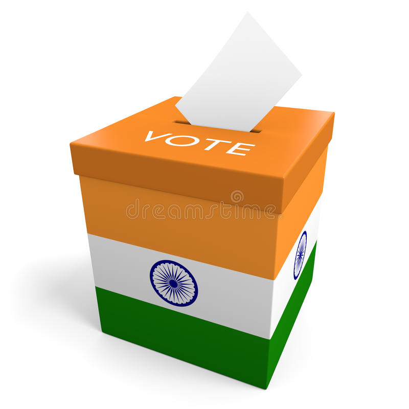 Urna de la elección de la India para recoger votos stock de ilustración