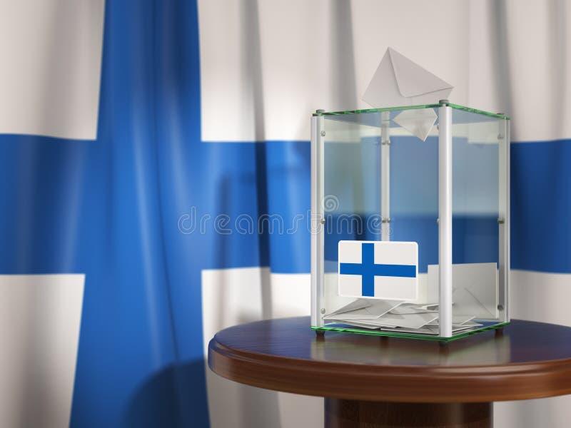 Urna de voto com a bandeira de papéis de Finlandia e de votação Pres finlandeses ilustração do vetor