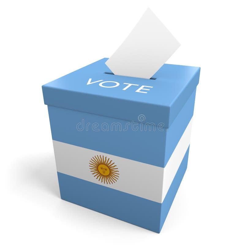 Urna de voto da eleição de Argentina para recolher votos ilustração do vetor