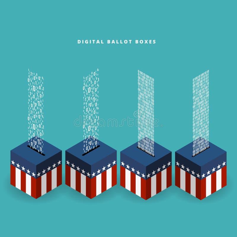 Urna de voto de Digitas ilustração stock