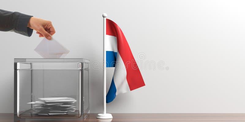 Urna de voto e uma bandeira holandesa pequena ilustração 3D ilustração do vetor