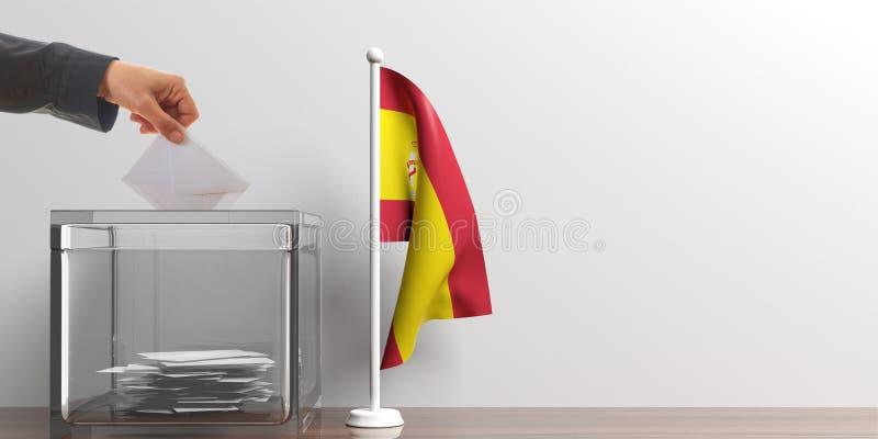 Urna de voto e uma bandeira pequena da Espanha ilustração 3D ilustração royalty free