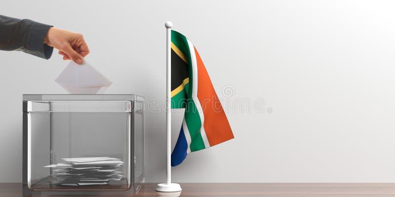 Urna de voto e uma bandeira pequena de África do Sul ilustração 3D ilustração stock