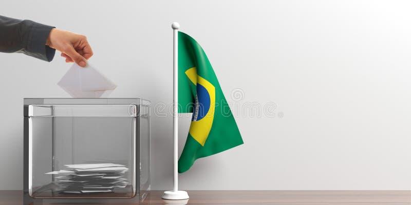 Urna de voto e uma bandeira pequena de Brasil ilustração 3D ilustração royalty free