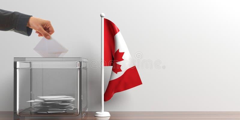 Urna de voto e uma bandeira pequena de Canadá ilustração 3D ilustração stock