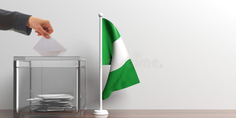 Urna de voto e uma bandeira pequena de Nigéria ilustração 3D ilustração royalty free