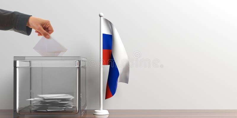 Urna de voto e uma bandeira pequena de Rússia ilustração 3D ilustração royalty free