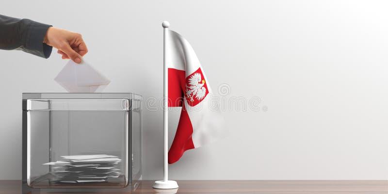 Urna de voto e uma bandeira pequena do Polônia ilustração 3D ilustração do vetor