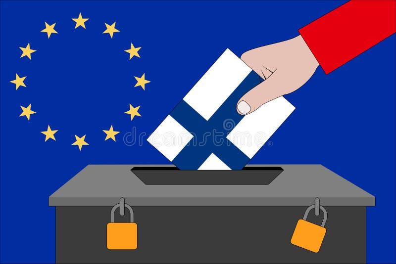 Urna de voto de Finlandia para as eleições europeias ilustração do vetor
