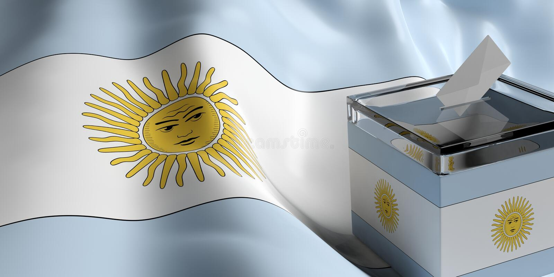 Urna de voto no fundo da bandeira de Argentina, ilustração 3d ilustração stock