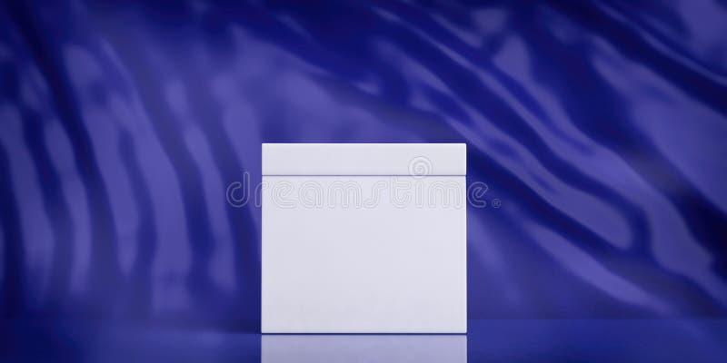 Urna en blanco blanca en el fondo abstracto azul, espacio de la copia ilustración 3D stock de ilustración