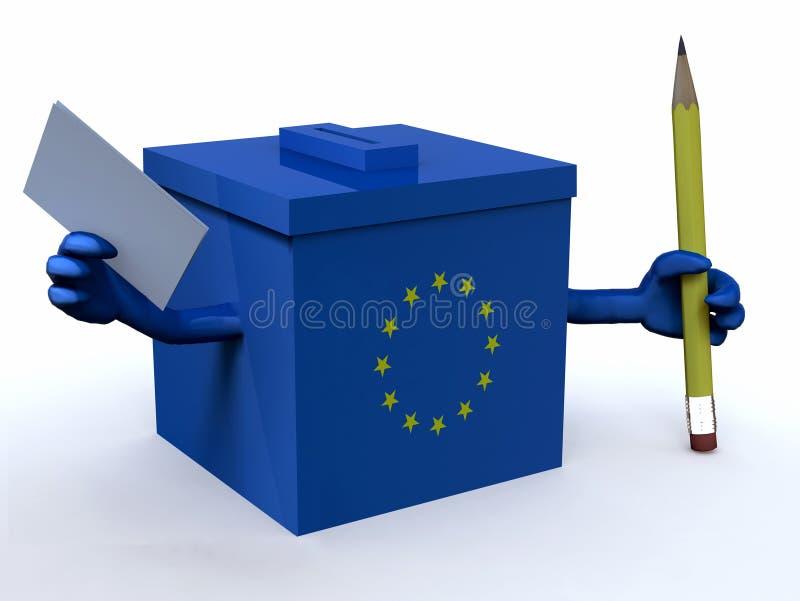 Urna europea con le armi, la matita e la scheda di votazione illustrazione di stock