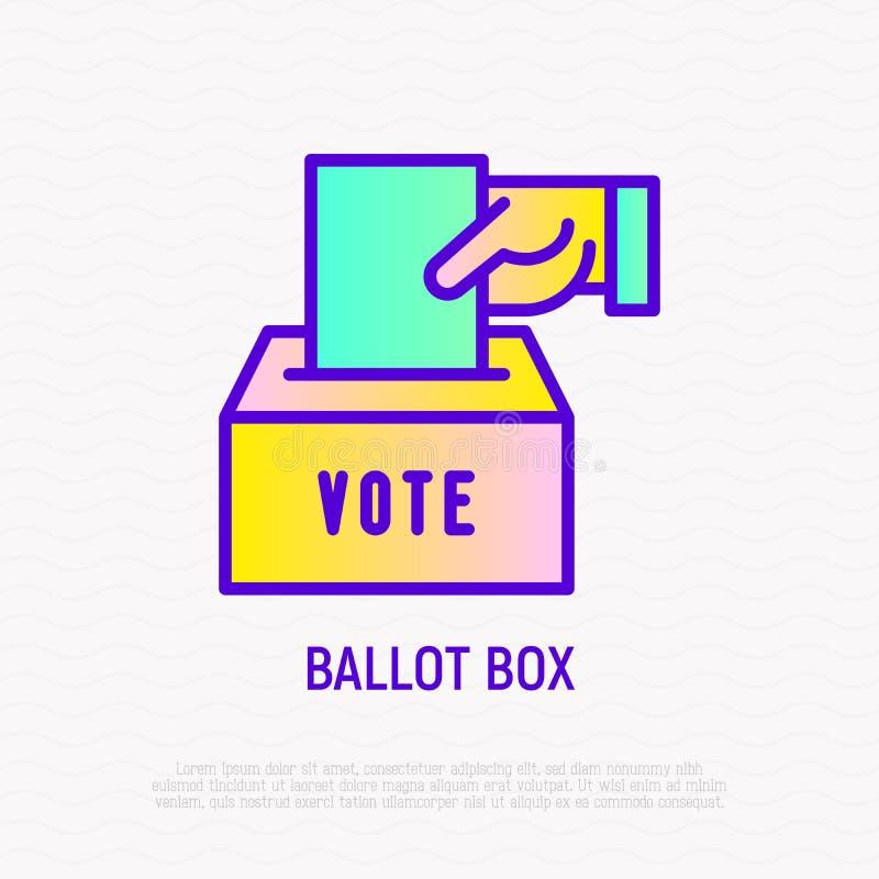 Urna: la mano mette la busta con il voto in scatola illustrazione di stock