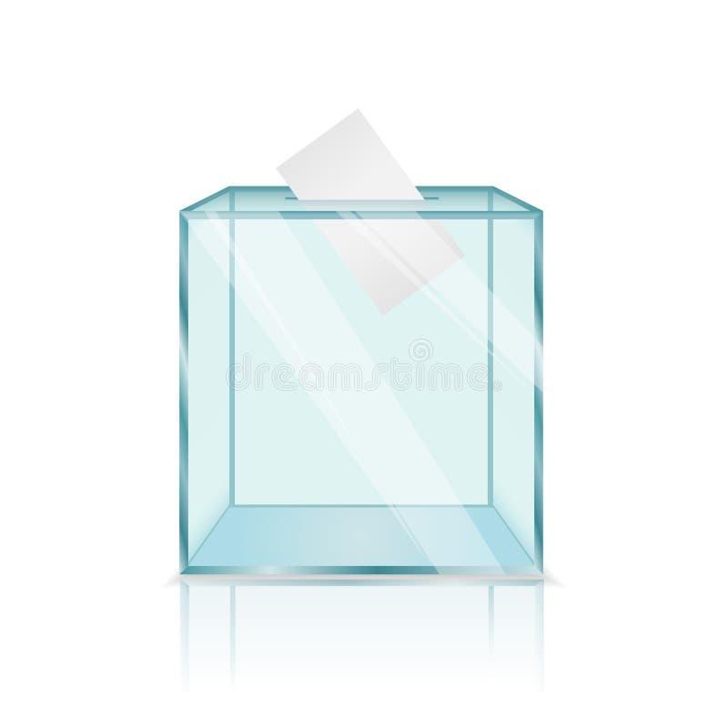 Urna transparente de cristal moderna realista con los papeles de votación dentro ilustración del vector