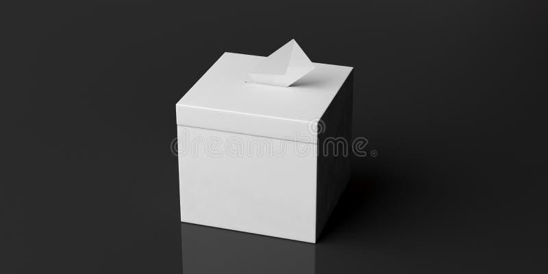 Urna y sobre en blanco blancos en el fondo negro, espacio de la copia ilustración 3D libre illustration