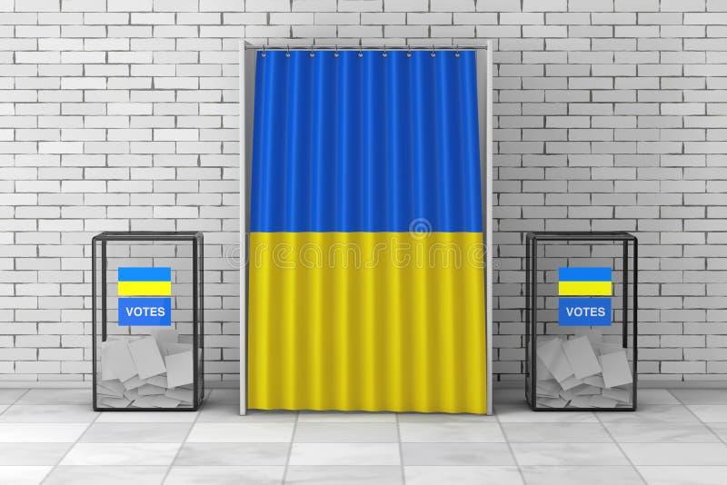 Urnas cerca de la cabina de votación blanca con la cortina y la bandera de Ucrania representación 3d foto de archivo libre de regalías