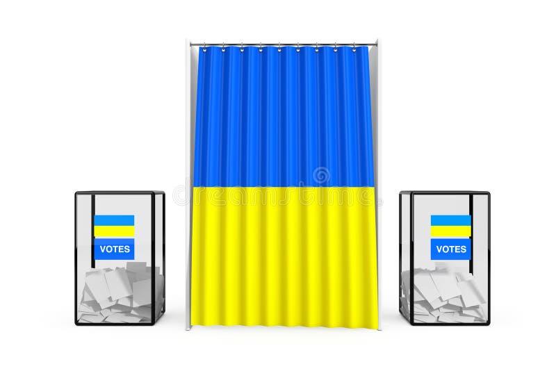 Urnas cerca de la cabina de votación blanca con la cortina y la bandera de Ucrania representación 3d imagenes de archivo