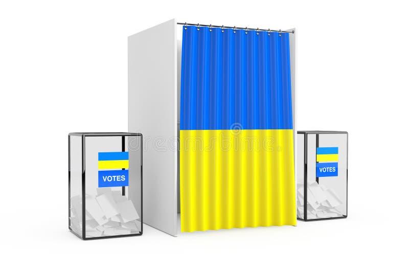 Urnas cerca de la cabina de votación blanca con la cortina y la bandera de Ucrania representación 3d fotografía de archivo
