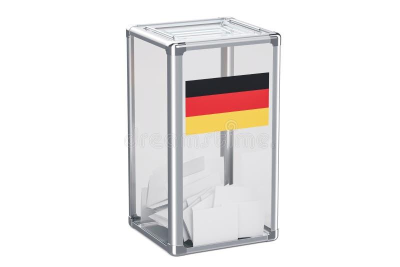 Urne allemande d'élection avec le drapeau, rendu 3D illustration libre de droits