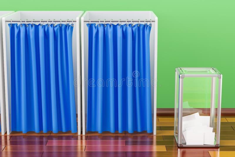 Urne d'élection avec des isoloirs dans la chambre sur la Floride en bois illustration de vecteur