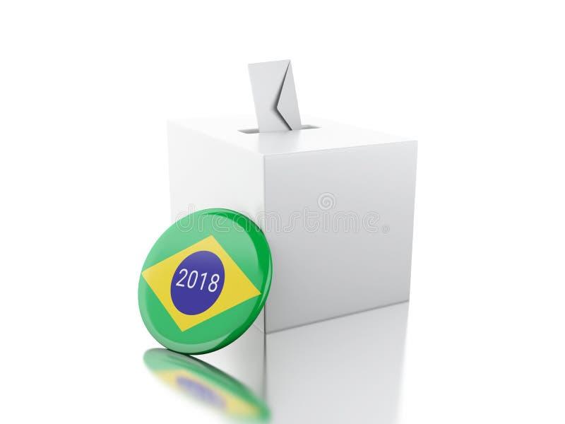 urne 3d avec la goupille du Brésil Élections 2018 illustration stock