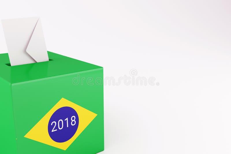 urne 3d avec le drapeau du Brésil Élections 2018 illustration libre de droits
