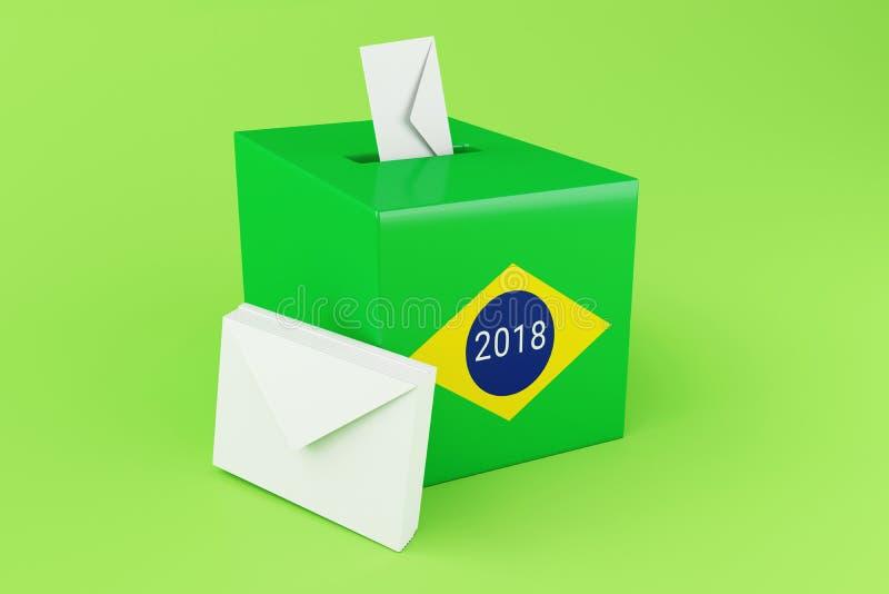urne 3d avec le drapeau du Brésil Élections 2018 illustration stock