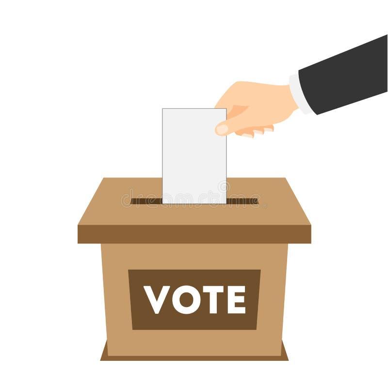 Urne d'isolement avec le papier de vote illustration libre de droits
