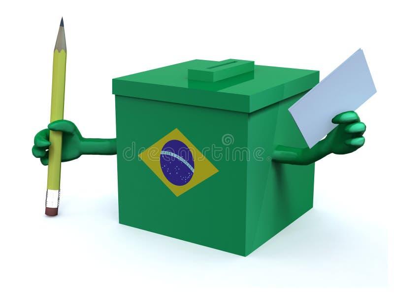 Urne de Brasilia d'élection avec les bras, le papier d'enveloppe et le penc illustration libre de droits