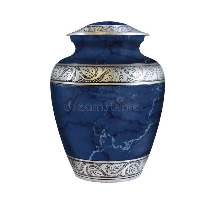 Urne di cremazione o urna ceramica blu scuro di cremazione con una progettazione di marmo fotografia stock libera da diritti