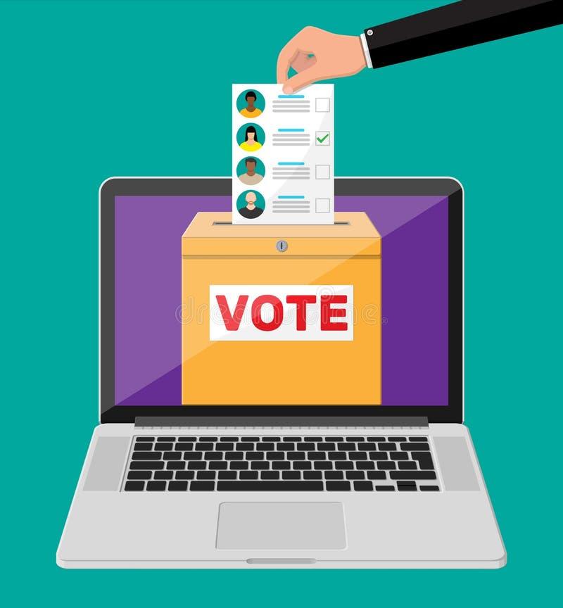 Urne, document avec des candidats sur l'ordinateur portable illustration libre de droits