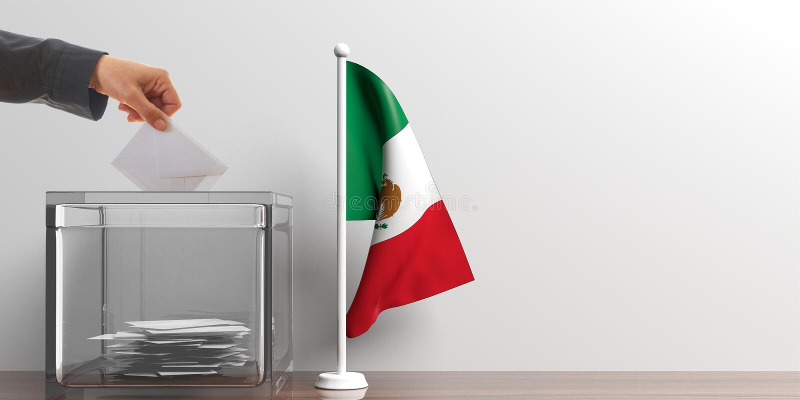 Urne et un petit drapeau du Mexique illustration 3D illustration de vecteur