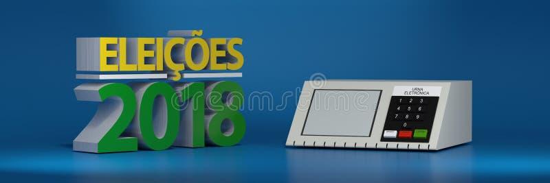 Urneelektronik, Brasilien-Wahl 2018 Abbildung 3D vektor abbildung