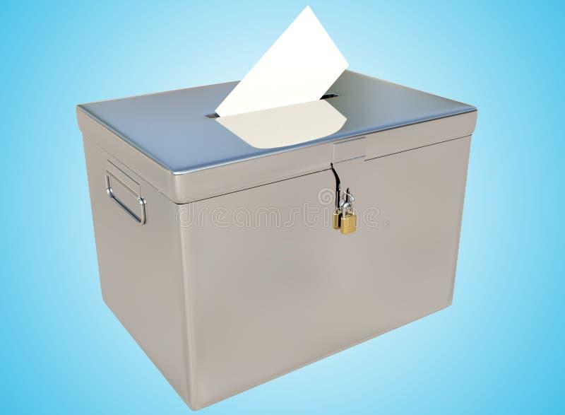 urnes en métal du rendu 3D et carte de vote sur un gradient bleu illustration de vecteur