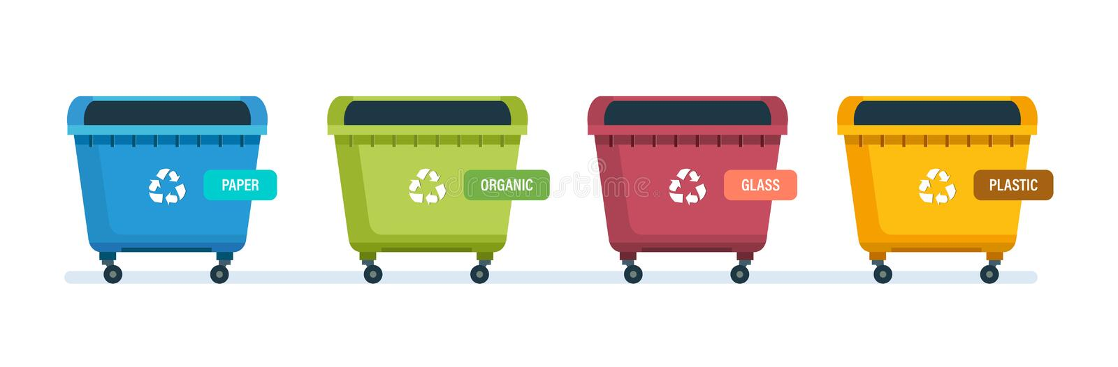 Urns for paper products, food waste, glass and plastic waste. Containers for garbage of different types. Urns for paper products, food waste, glass and plastic stock illustration
