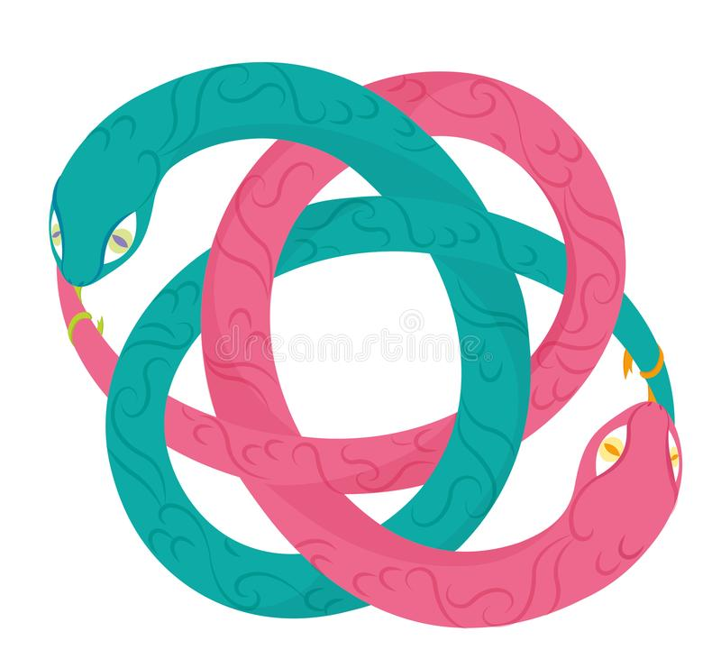 Uroboro snake: yin yang and infinity concept vector illustration