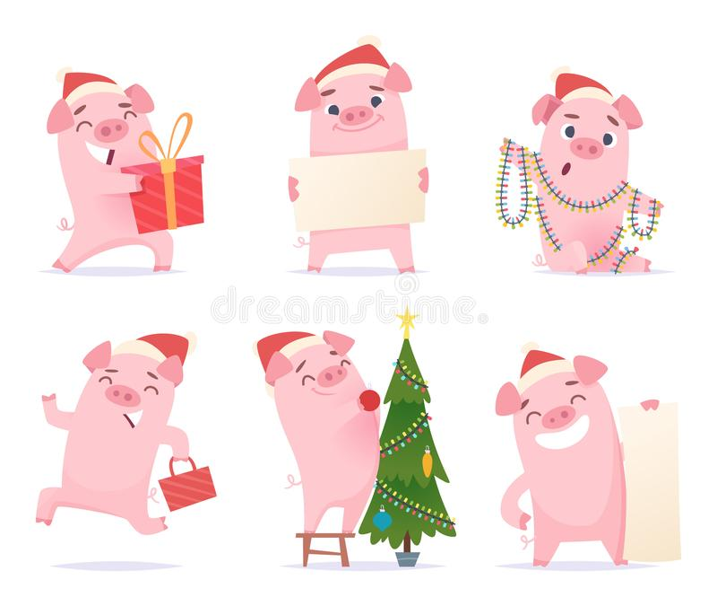 urocza świnia Nowego roku świętowania kreskówki maskotek knura prosiaczka wieprza 2019 wektorowi charaktery w akcji pozach ilustracja wektor