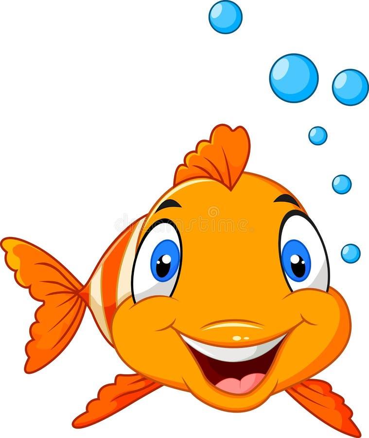Urocza błazen ryba z woda bąblami odizolowywającymi na białym tle ilustracja wektor