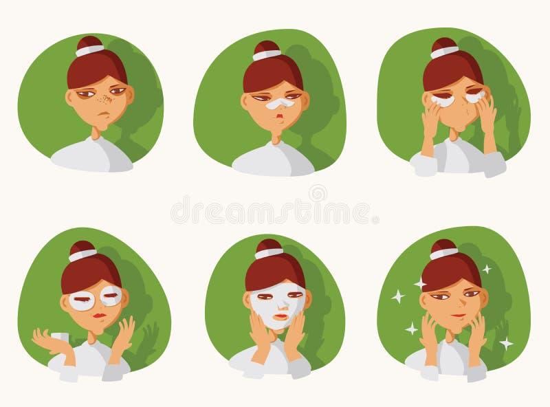 Urocza brunetki dziewczyna bierze opiekę jej skóra na twarzy Łaty pod oczami na nosie i, zapobiegać zaskórniki i zmrok okręgi ilustracja wektor