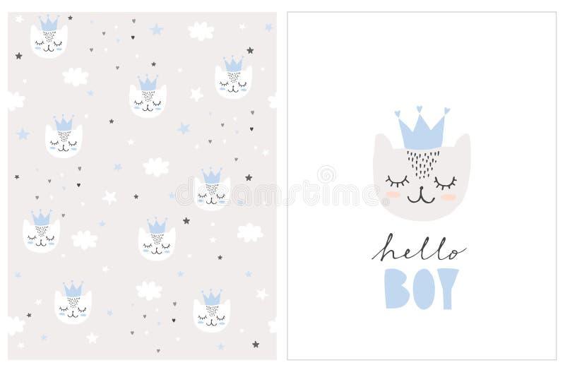 Urocza cześć chłopiec wektoru karta i wzór Proste dziecko prysznic ilustracje royalty ilustracja
