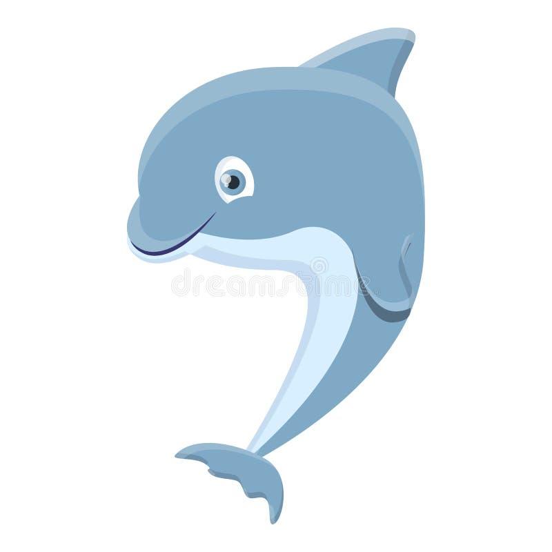 Urocza delfin ikona, kreskówka styl royalty ilustracja
