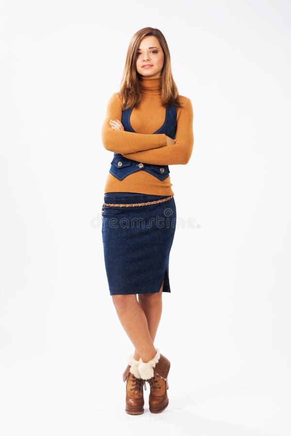 Urocza dziewczyna w eleganckiej odzieży zdjęcie royalty free