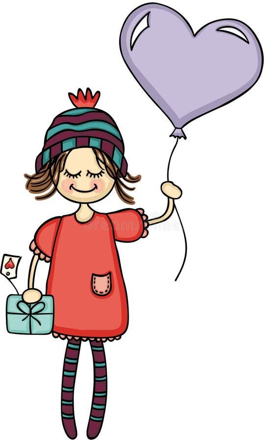 Urocza dziewczyna z serce prezentem i balonem ilustracja wektor